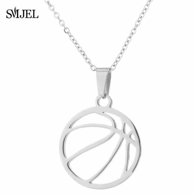 SMJEL naszyjniki ze stali nierdzewnej koszykówka piłka nożna piłka nożna wisiorek naszyjnik moda biżuteria dla kobiet mężczyzn fanów sportu prezenty