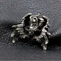Flying Andromeda Pendant S925 pure silver manual Beauty Binding lock Angel wings for men and women Lovers thai silver
