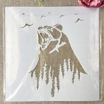30*30cm Grizzlies Bear Roar DIY Layering Stencils Painting Scrapbook Coloring Embossing Album Decorative Template roar roar