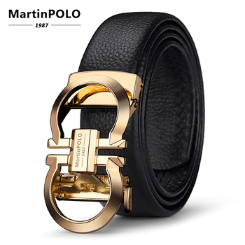 MartinPOLO Genuine Leather Belt Men Cowskin Strap Luxury Belts For Male Alloy Automatic Buckle Fashion Belt Casual Gold MP3003P designer fashion men belts luxury automatic buckle cowskin genuine leather belt for men business black waist male strap zd051