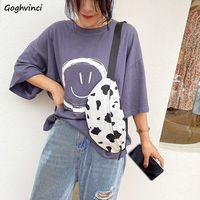 Riñonera de moda leche estampado de vaca Vintage bolsos de las mujeres bolsos de las señoras de moda de lona Casual Harajuku Simple nuevo