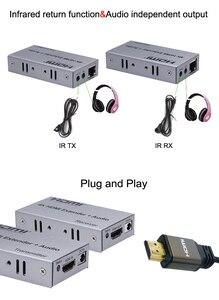 Image 3 - 4K HDMI extensor 100M R/L de salida de Audio de la señal HDMI extensión por Cat5E CAT6 RJ45 Ethernet Cable de vídeo convertidor TX RX de la PC a TV HDTV