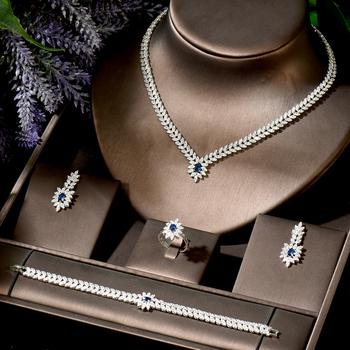 HIBRIDE proste 4 sztuk niebieski liść kropla wody kształt naszyjnik zestaw kolczyków CZ nigerii ślubne kobiety biżuteria dla nowożeńców Party prezenty N-1839 tanie i dobre opinie Miedziane CN (pochodzenie) Cyrkonia TRENDY 1 pcs Necklace+1 pair Earring+1pcs ring+1pcs bracelet Naszyjnik kolczyki pierścionek bransoletka