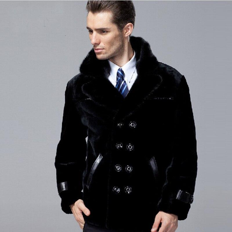 Free Shipping Men's Winter Fashion Mink Collar Genuine Leather Sheepskin And Sheep Fur Coat Men Warm Jacket