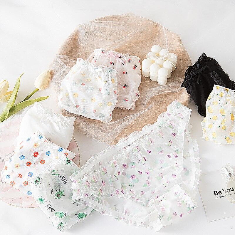 3Pcs/lot Japanese Cartoon Cute Panties Sex Girl Candy-colored Bow Cute Underwear Women's Sheer Low-waist Briefs Cotton Briefs