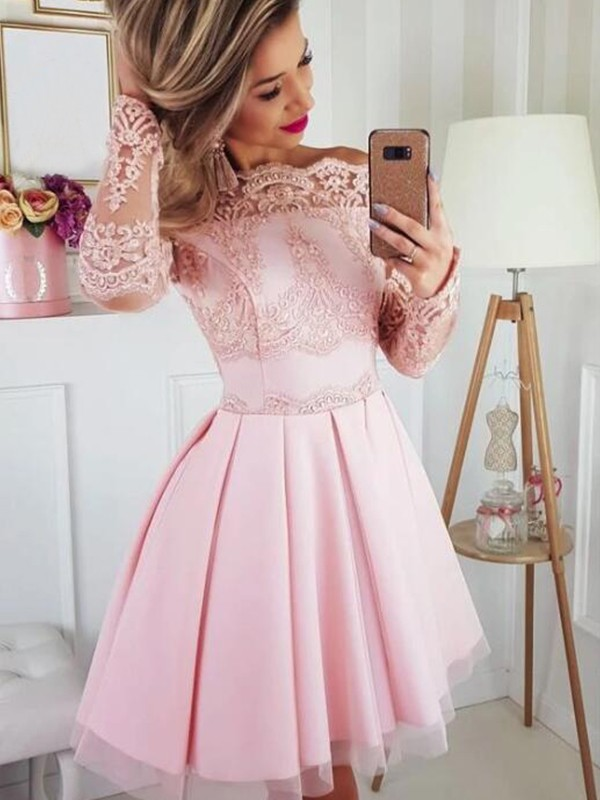 2020 Elegant   Cocktail     Dress   A-Line/Princess Satin Lace Off-the-Shoulder Long Sleeves Short/Mini Homecoming   Dresses   for Party