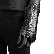 Унисекс, черная змеиная кожа, узор и серебряная заклепка, теплые повязки на руку из искусственной кожи, готический стиль, на шнуровке, защитный кронштейн, броня, косплей