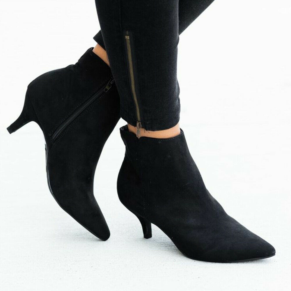 Women/'s Chunky Low Heel Ankle Boots Pearl Casual Zipper Booties Shoes Plus Size