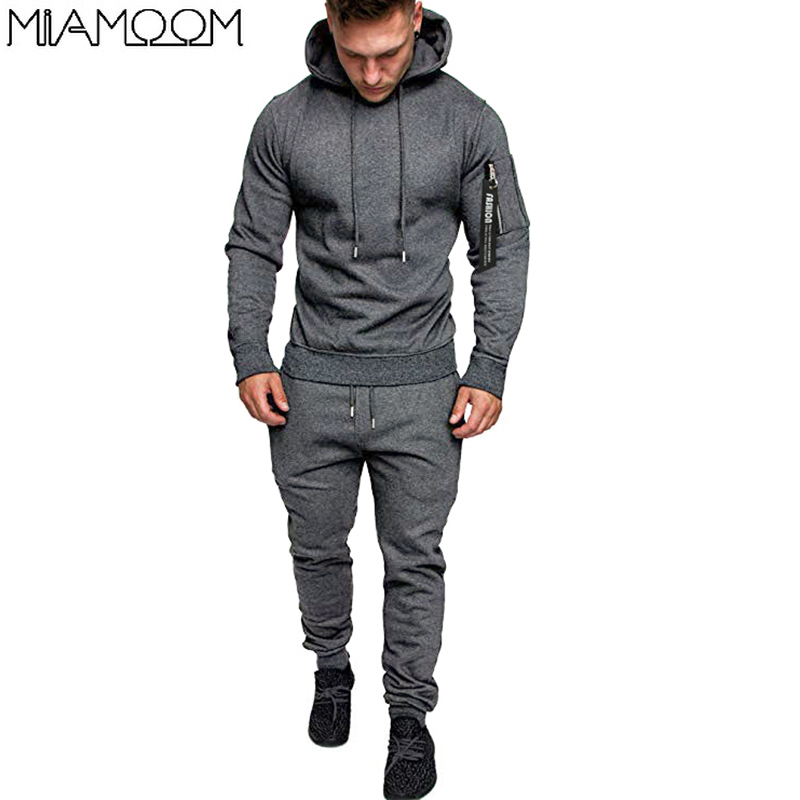 Tracksuit Men 2019 New Zipper Pocket Hoodie Men's Sweat Pants Suit In Solid Color