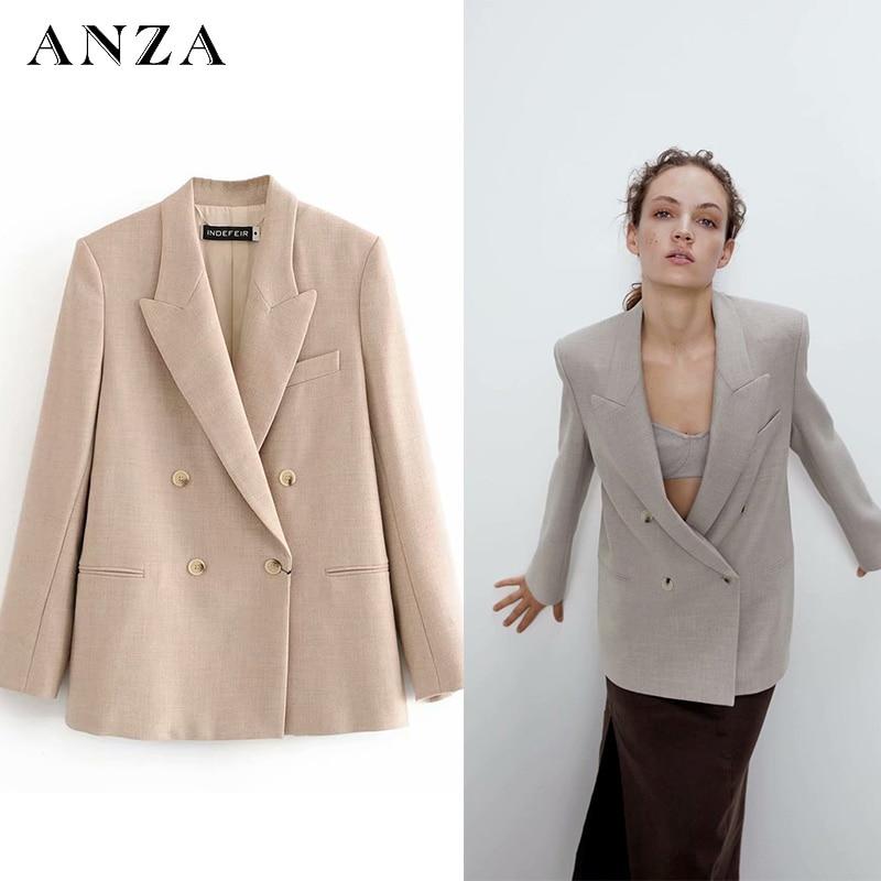 Za Women Blazer With Double Breasted Pocket Long Sleeve Coat Casual Loose Oversize Jacket