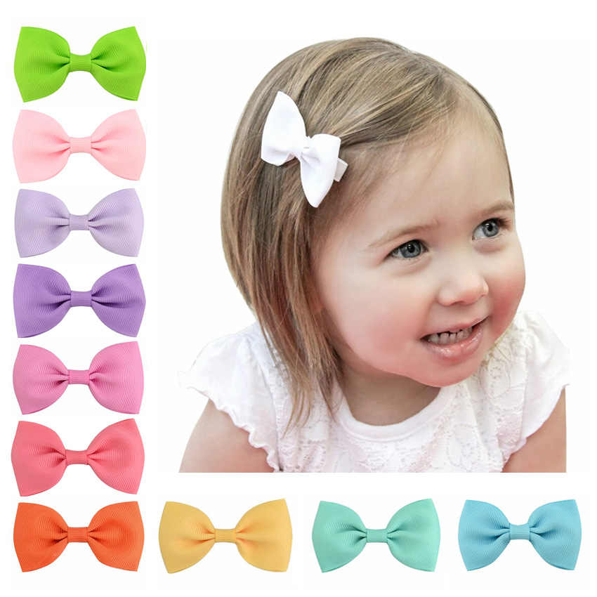 1 Pcs Mini 2.75'' Bow Tie Hair Clip Small Sweet Solid Ribbow Bow Safety Hair Clips Kids Hairpins  Hair Accessories gift 643