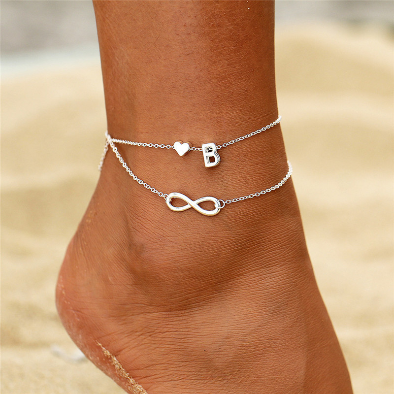 Boho Initial Anklet Heart Infinity Silver Color Ankle Bracelet on Leg Chain 26 Letter Anklets For Women Ankle Beach Foot Jewelry