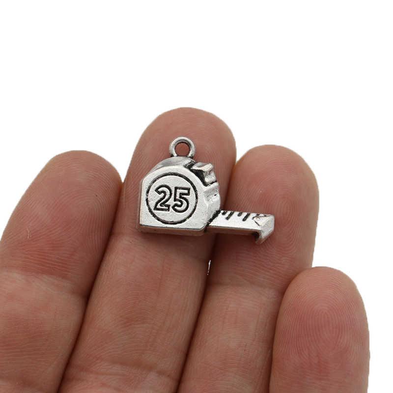 Jakongo prata chapeado caixa ruller encantos pingentes para fazer jóias pulseira diy acessórios 22x17mm 15 pçs