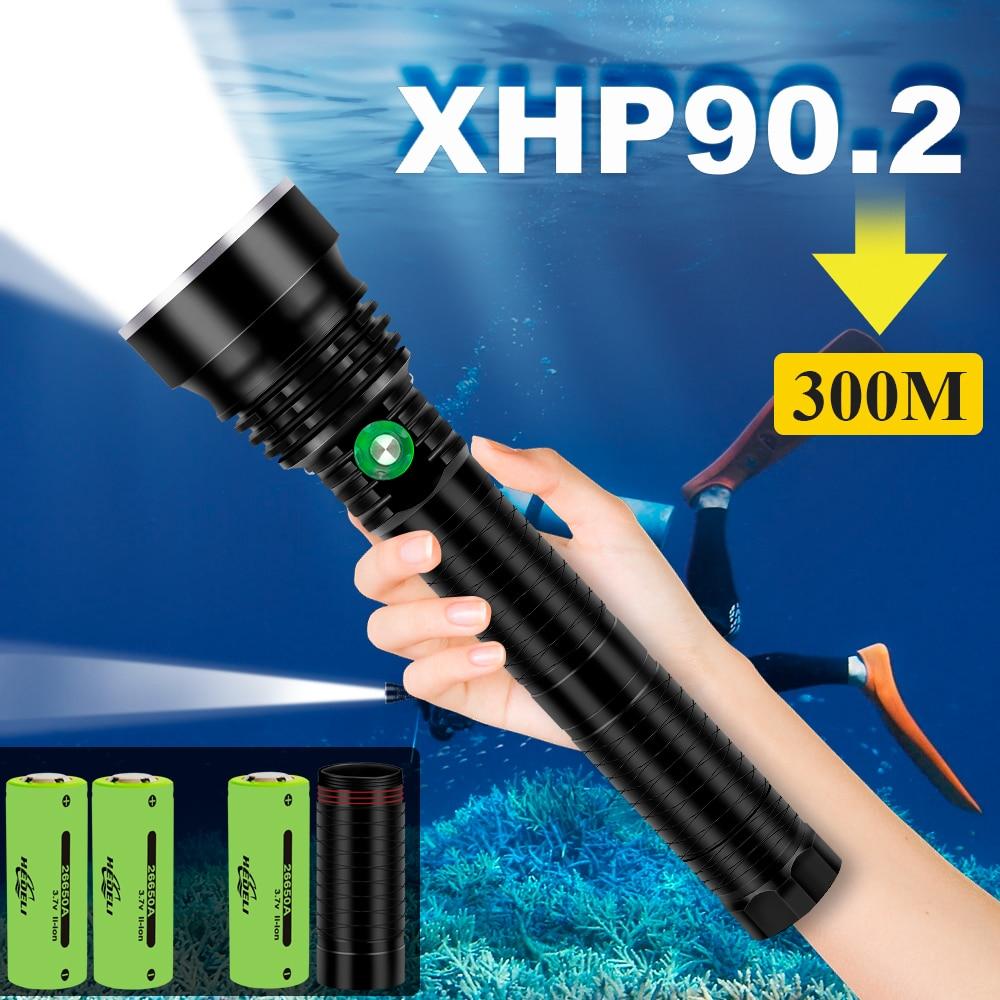 xhp90.2 lâmpada de lanterna subaquática LED potente tocha de mergulho à prova dágua 26650 or18650 xhp70 xhp50 luz flash de mergulho de caça