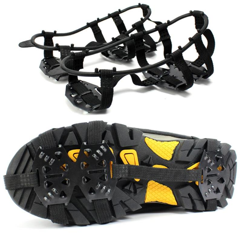 1 Pair 24 Teeth Ice Snow Shoe Spiked Grips Cleats Crampons Walk Winter Climbing Camping Anti Slip Hiking Snowshoes Shoes Cover