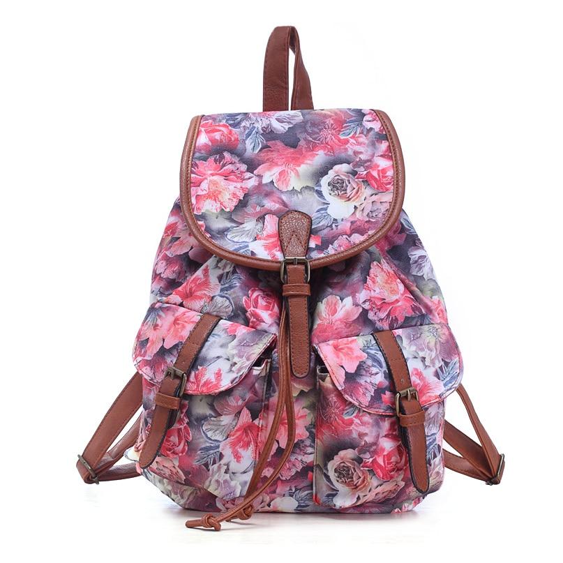 Nouveau sac à dos d'école fille imprimé motif floral sac à dos ASM1