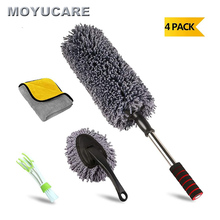 4pcs Car Duster Microfiber Cleaning Brush With Extendable Handle Multipurpose Dust Removal For Exterior Interior Home Cleaning