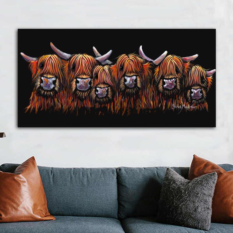 RELIABLI ART Six vaches Cancas peinture Anaimal image mur Art imprime pour salon chambre photos décoratives sans cadre