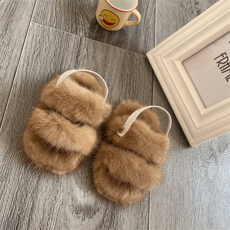 Baby Fur Shoes Baby Crawling Shoes Mink Fur Slippers For Boys And Girls Baby Training Slippers Winter Shoes