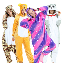 Animal Cosplay Pajamas Onesie Adult Winter Kigurumi Women Children Flannel Girls Kids