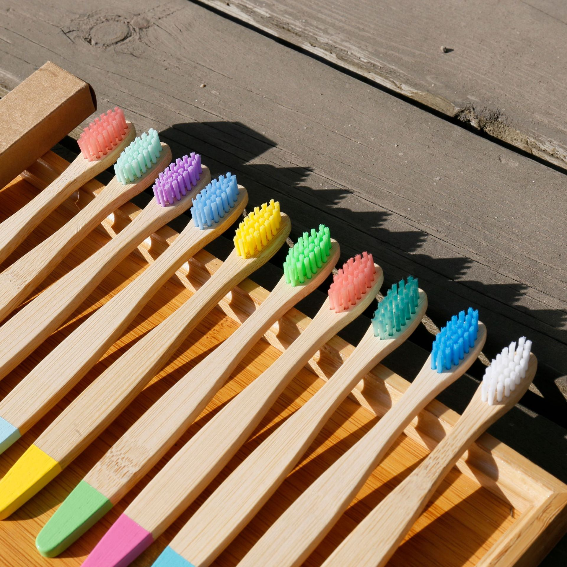 10 pces bambu escova de dentes cor 04