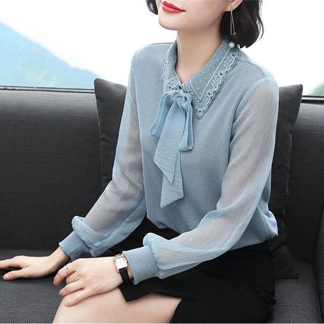 Women's Spring Autumn Style Chiffon Blouses Shirt Women's Bow Long Sleeve Solid Color Korean Elegant Tops DD9028 4
