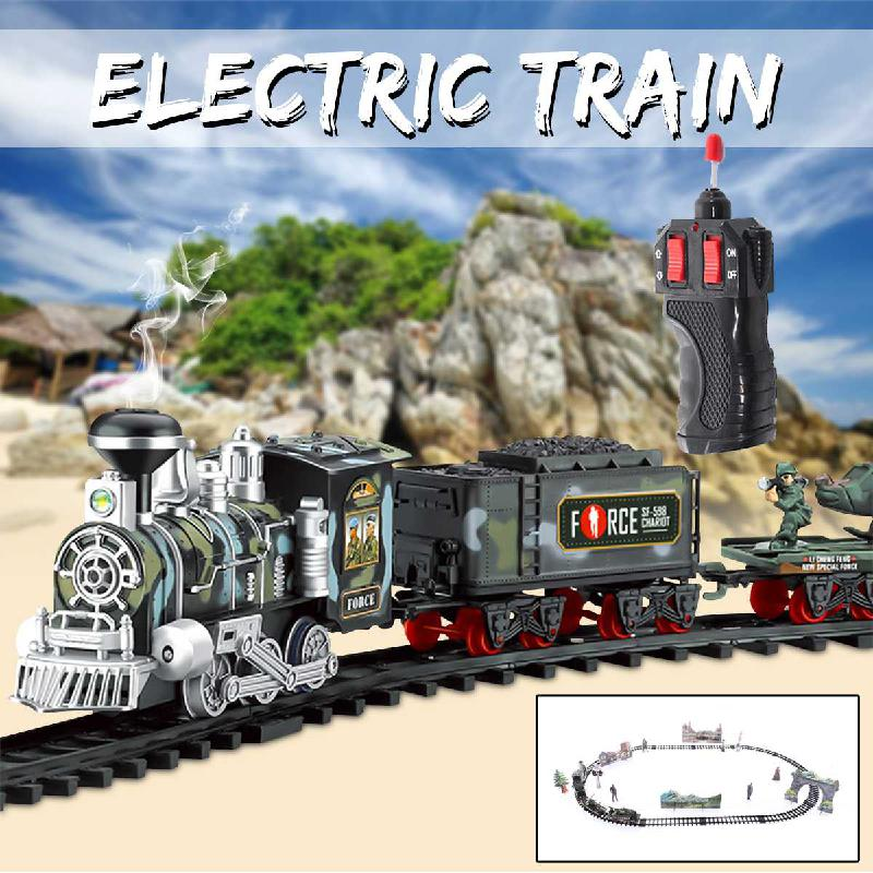 2020 New Toy Railroad Antistress Funny Gadgets Remote Control Conveyance Car Electric Steam Smoke Train Set Model Toy Gift