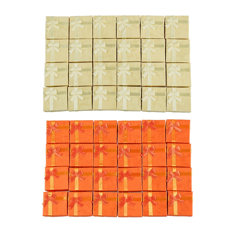 48 Pcs Ring Earring Jewelry Display Gift Box Bowknot Square Case Yellow & Orange