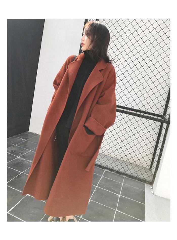 Liva girl Long Coat Winter Coat Women Belted Solid Coat Women's Jacket Women's 5 Colors Coat wool Coat 17