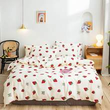 2019 Red Strawberry Beige INS Bed Cover Duvet Cover Set Cotton Bedding Set Bedlinens Twin Queen King Flat Sheet Fitted Sheet(China)