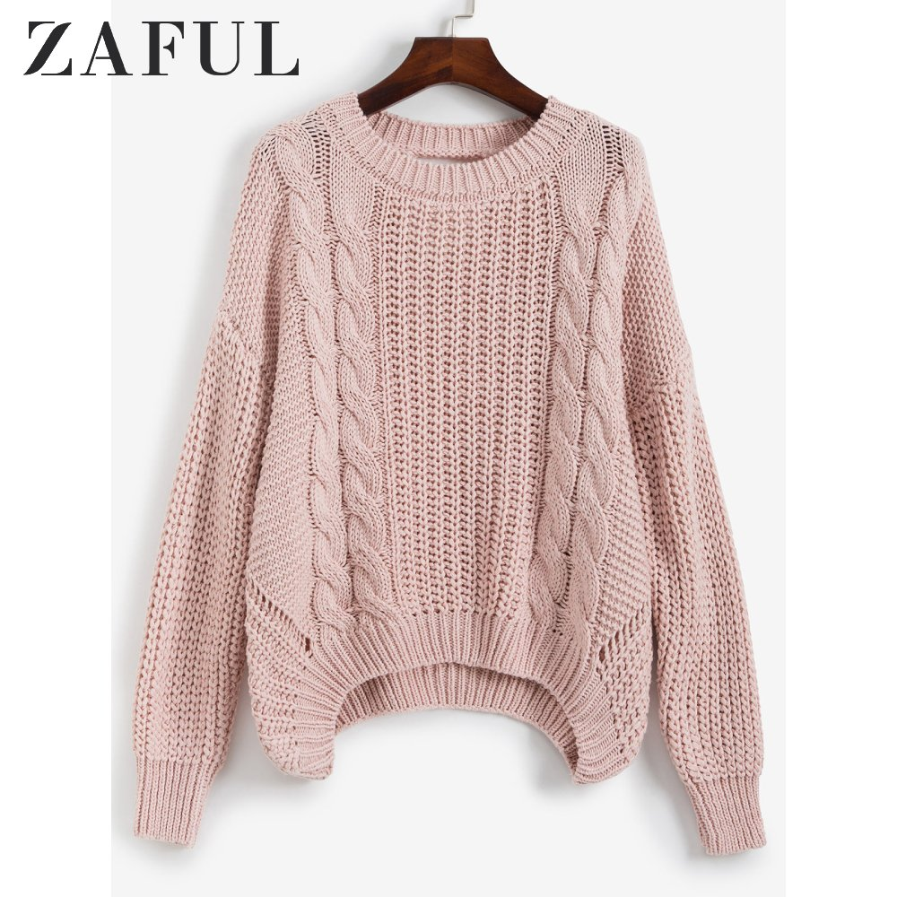 ZAFUL Drop Shoulder Cable Knit Cut Out Back Sweater Jumper Women Casual Autumn Clothing Fashion Long Sleeve Crew Neck Pullovers