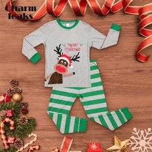 Charmleaks/Детский Рождественский пижамный комплект, НОВАЯ РОЖДЕСТВЕНСКАЯ одежда для сна с длинными рукавами, детская одежда для сна, домашняя одежда для детей 2-7 лет