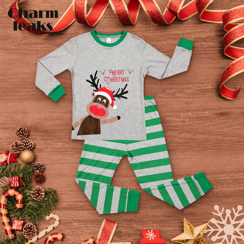 Charmleaks Kids Christmas Pajamas Set Long Sleeve New Xmas Sleepwear Children Skin-friendly Nightwear Kid Homewear Set Years 2-7