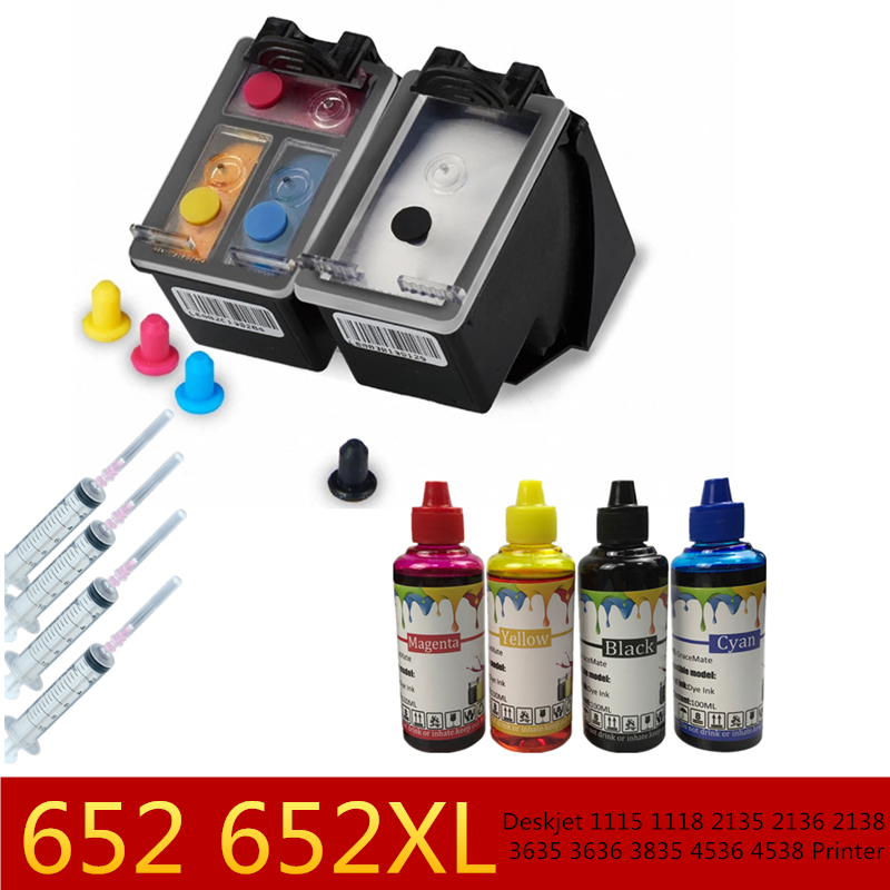 <font><b>652</b></font> 652XL Refillable <font><b>Ink</b></font> <font><b>Cartridge</b></font> + 4 Printer <font><b>Ink</b></font> for <font><b>HP</b></font> Deskjet 1115 1118 2135 2136 2138 3635 3636 3835 4536 4538 Printer image