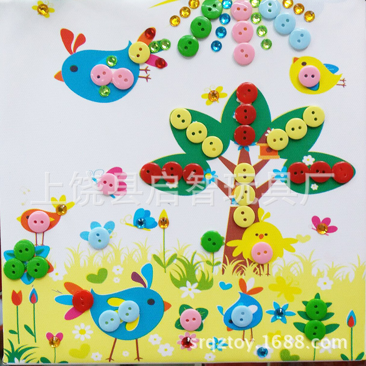 20*20 Solid Wood Frame Button Art Creative Stickers Kindergarten Handmade Material Box Buttons Handmade Painting