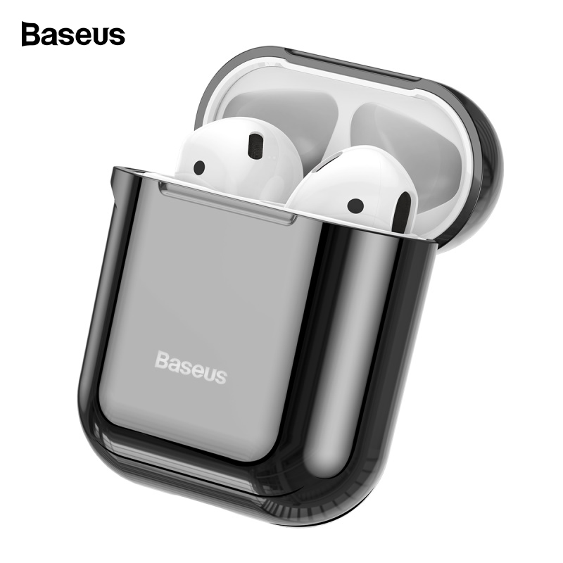 Baseus Glossy Shining Plating <font><b>Case</b></font> For <font><b>AirPods</b></font> 2 <font><b>1</b></font> Portable Earphone Protect Cover For Air Pods 2019 With Anti-lost Sport Hook image