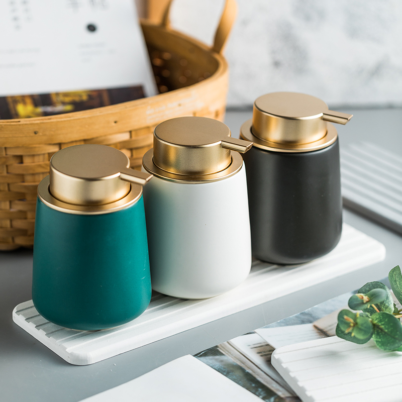 Ceramic disinfectant dispenser Marble Hand Sanitizer Bathroom Amenities Shower Gel Shampoo Conditioner foaming soap pump bottle