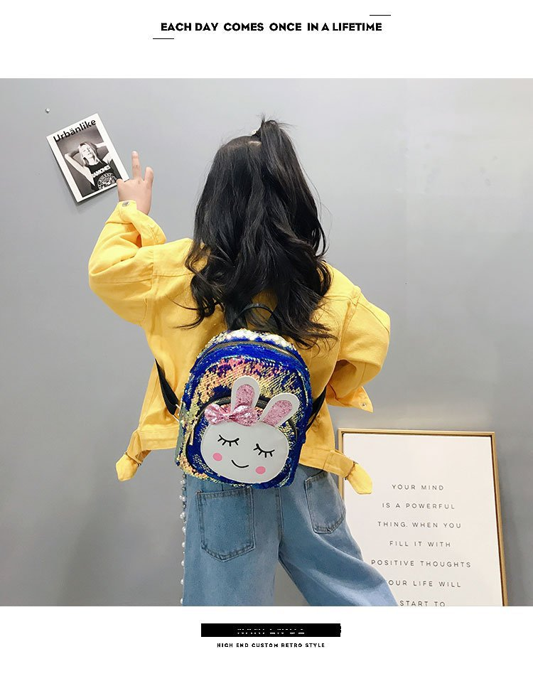 2019 Spring And Summer Backpack Korean-style Children's Bags Cute Bunny Casual Backpack Fashion Men And Women Children Sequin Sc