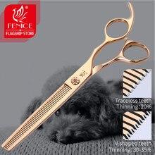 Fenice 6.5/7.0 profissional pet grooming desbaste tesoura para cães animais de estimação corte cabelo tesoura jp440c aço inoxidável