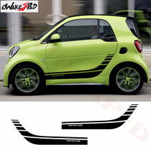 2pcs Car Styling For Smart Fortwo Forfour Racing Sport Stripes Stickers Body Door Side Skirt Decor Stickers DIY Vinyl Decals