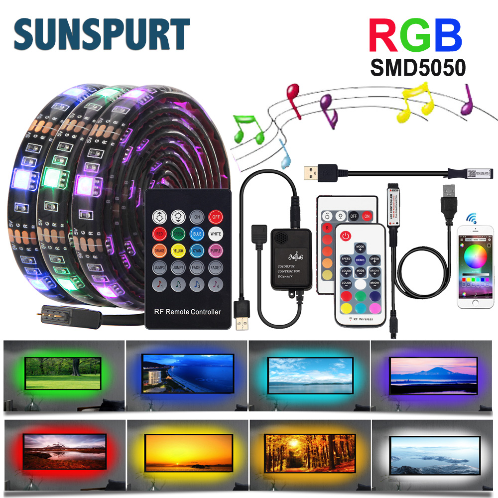 1M-5M DC 5V USB LED Strip Set 5050 RGB With RF IR Remote  Music Controller Flexible Light For TV Background Lamp Ribbon Led Tape