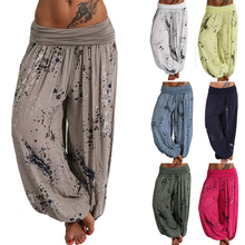 Women Casual Pants 2019 New Digital Print Lacing Wide Leg  Summer Yoga Leggings Home Temperament Breathable