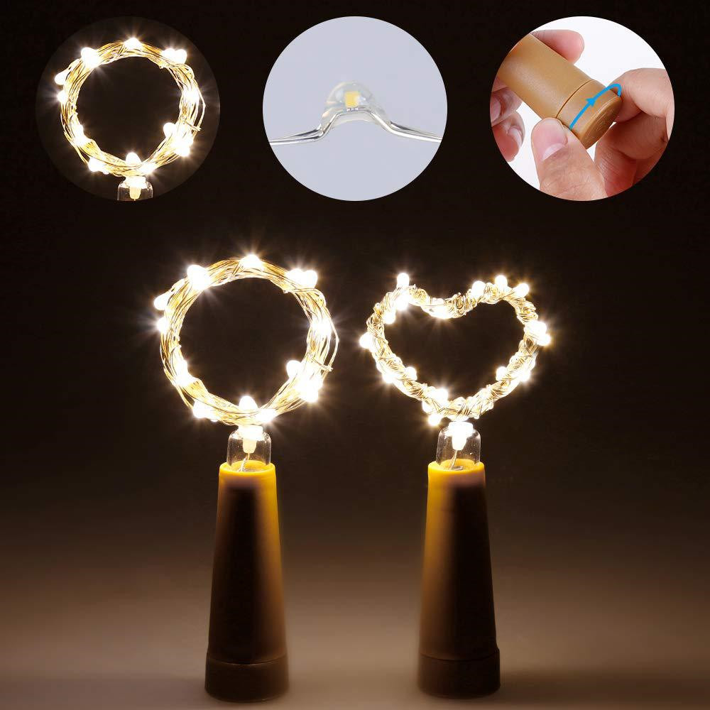 6PCS 1M LED String Lights Garland Copper Wire Cork String Fairy Lights Wine Bottle Lights For Valentine Wedding Decoration