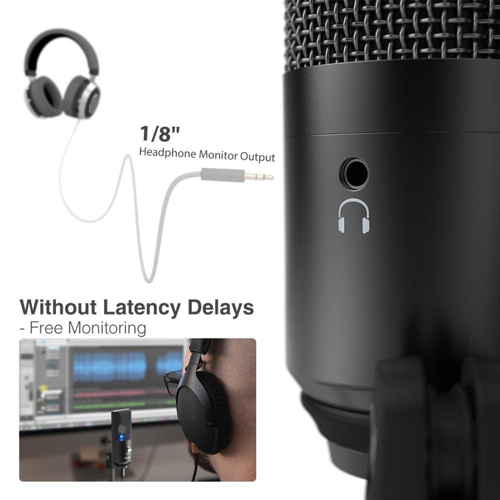 Microphone USB FIFINE pour Mac/ pc Windows, micro Vocal pour multi-usages, optimisé pour l'enregistrement, voix off, pour YouTube Skype-K670B - 4