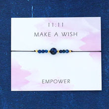 Pulseira de pedra natural de lapis lazuli pulseira de jóias de presente para mulheres homens amizade amor pulseira 11:11