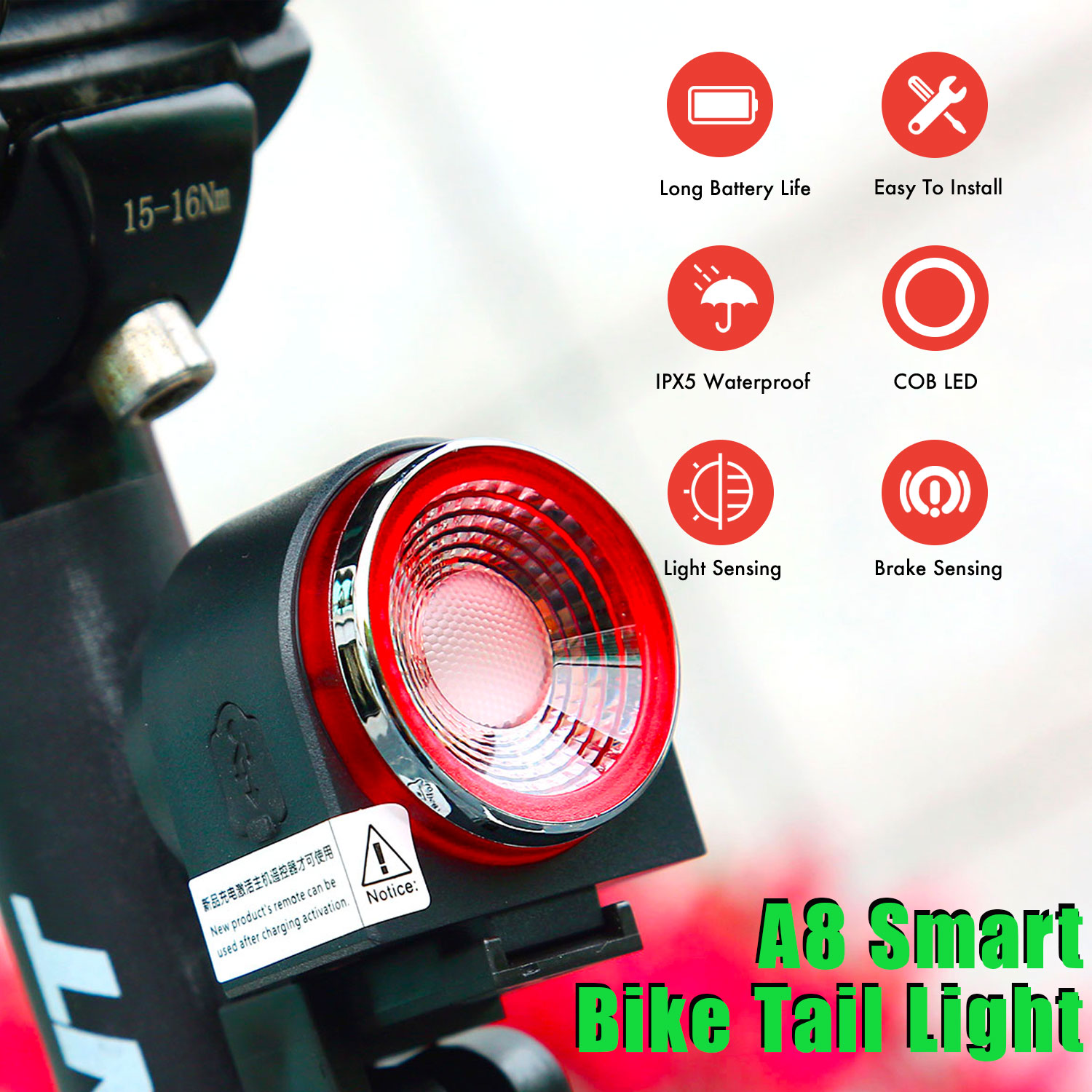 Remote Control Smart Bicycle Light With Anti Thief Alarm USB Rechargeable Bike LED Tail Lamp Cycling Security IPX5 Waterproof