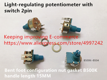 Original new 100% light-regulating potentiometer with switch 2pin bent foot configuration nut gasket B500K handle length 15MM image