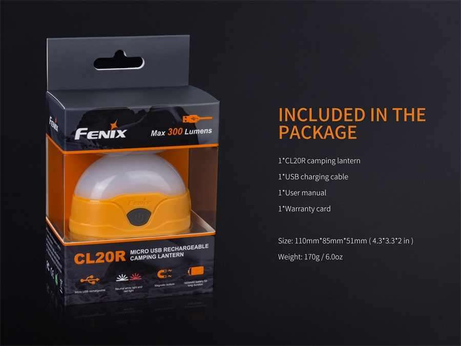 Fenix CL20R 300 люмен Micro-USB заряжаемый светильник для кемпинга встроенный литий-полимерный аккумулятор 1600 мАч