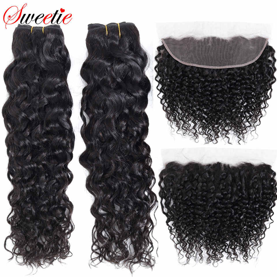 Sweetie Indian Water Wave Bundles with Frontal Closure 13x4 Lace Frontal with Bundles	Non-Remy Human Hair 3 Bundles With Frontal