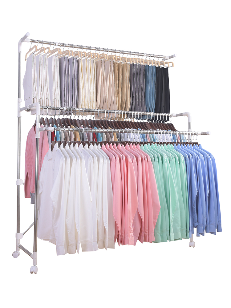 Clothes-drying Rack Landing Folding Indoor Double-pole Balcony Household Retractable Clothes-drying Pole Mobile Lifting Cool Clo